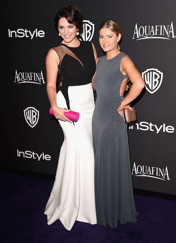 Kelly Brook (L) and actress Elisha Cuthbert attend the 2015 InStyle And Warner Bros. 72nd Annual Golden Globe Awards Post-Party at The Beverly Hilton Hotel on January 11, 2015 in Beverly Hills, California. (Photo by Jason Merritt/Getty Images)