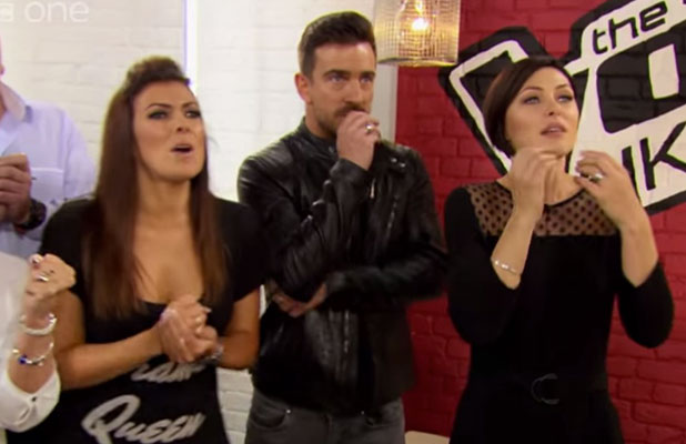 Kym Marsh watches daughter Emilie Cunliffe perform on The Voice UK, January 2015