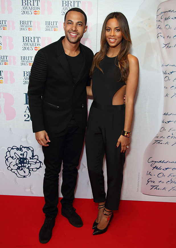Marvin Humes and Rochelle Humes attend the nominations launch for The Brit Awards 2015 at ITV Studios on January 15, 2015 in London, England.