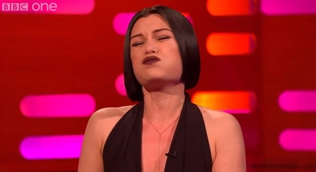 Jessie J sings 'Bang Bang' with her mouth closed on the Graham Norton show, BBC 16 January