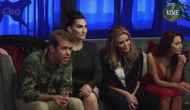 Celebrity Big Brother Launch - The celebrities are gathered to the sofa - shown on Channel 5 HD - 7 January 2015.