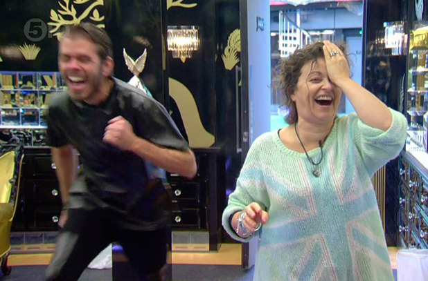 Perez Hilton helps Nadia Sawalha when she thinks she has her contact lense stuck on 'Celebrity Big Brother's Bit On The Side', Shown on Channel 5 HD, January 2015