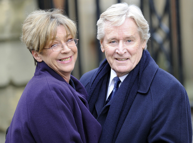 Coronation Street on Location filming, Manchester, Britain - 10 Feb 2013 Anne Kirkbride and William Roache