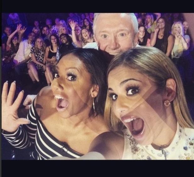 Mel B, Cheryl Fernandez-Versini and Louis Walsh selfie, from Cheryl's Instagram congratulating X Factor on NTA's win, 23/1/15