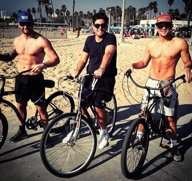TOWIE's James 'Arg' Argent enjoys bike ride in Los Angeles with friends - 20 January 2015.