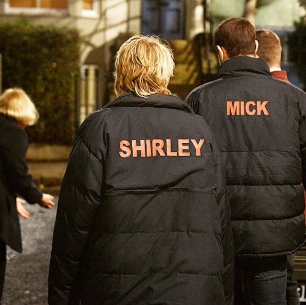 EastEnders' Mick and Shirley rehearse scenes for the live episode.