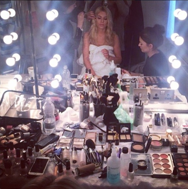 Mollie King gets her make-up done while shooting her spring/summer '15 campaign for Oasis - 20 January 2015