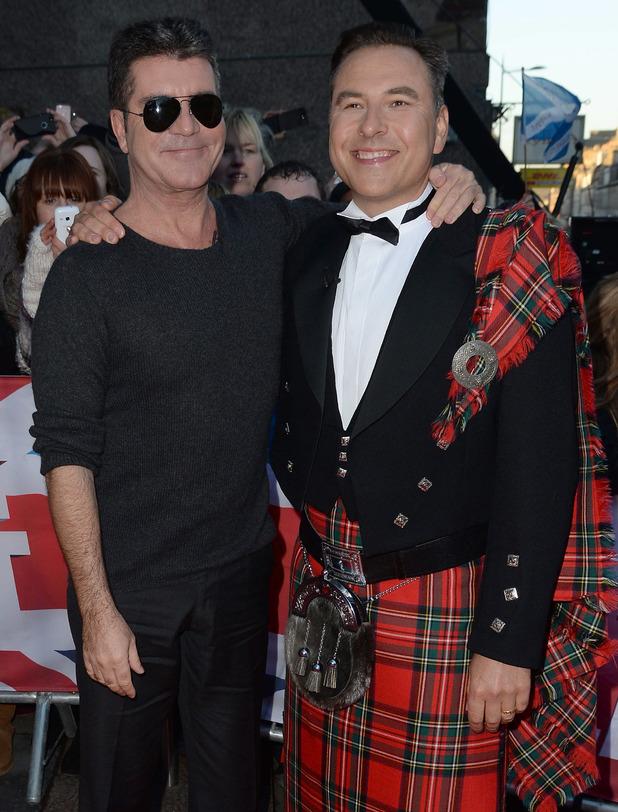 Simon Cowell and David Walliams at Britain's Got Talent Edinburgh Auditions held at Edinburgh Festival Theatre - Arrivals 01/19/2015 Edinburgh, United Kingdom