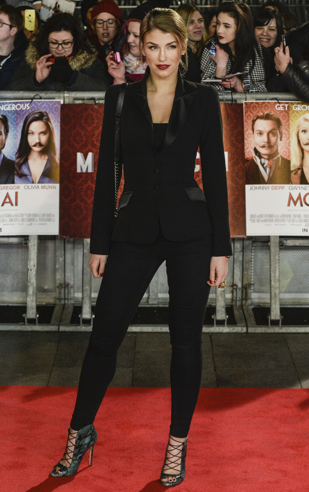 Amy Willerton attends the Mortdecai film premiere in London's Leicester Square - 19 January 2015