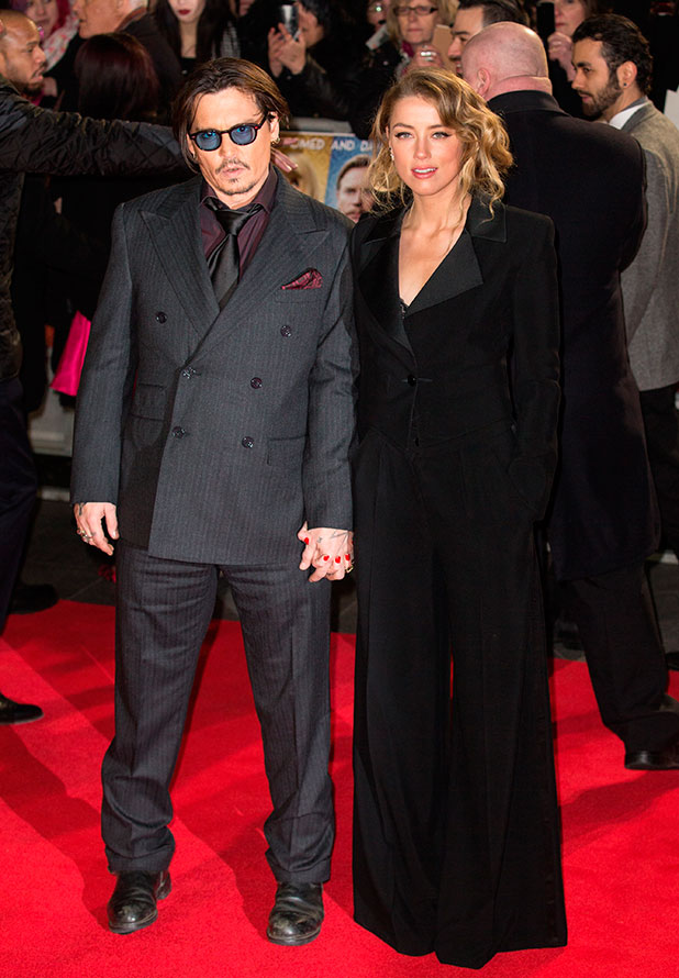 Amber Heard and Johnny Depp at the UK Premiere of 'Mortdecaií' held at the Empire Leicester Square, 19 January 2015