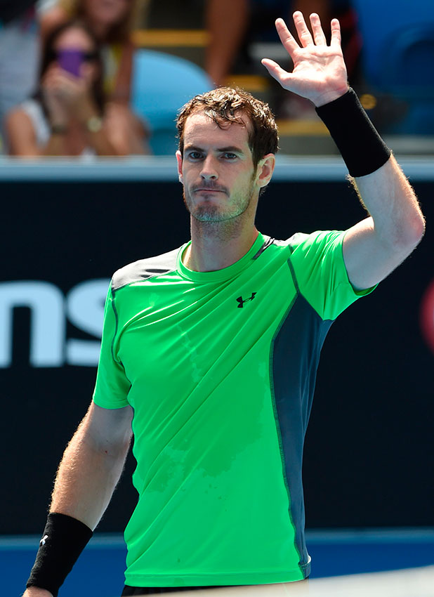 Britain's Andy Murray celebrates after victory against India's Yuki Bhambri during their men's singles match on day one of the 2015 Australian Open tennis tournament in Melbourne on January 19, 2015.