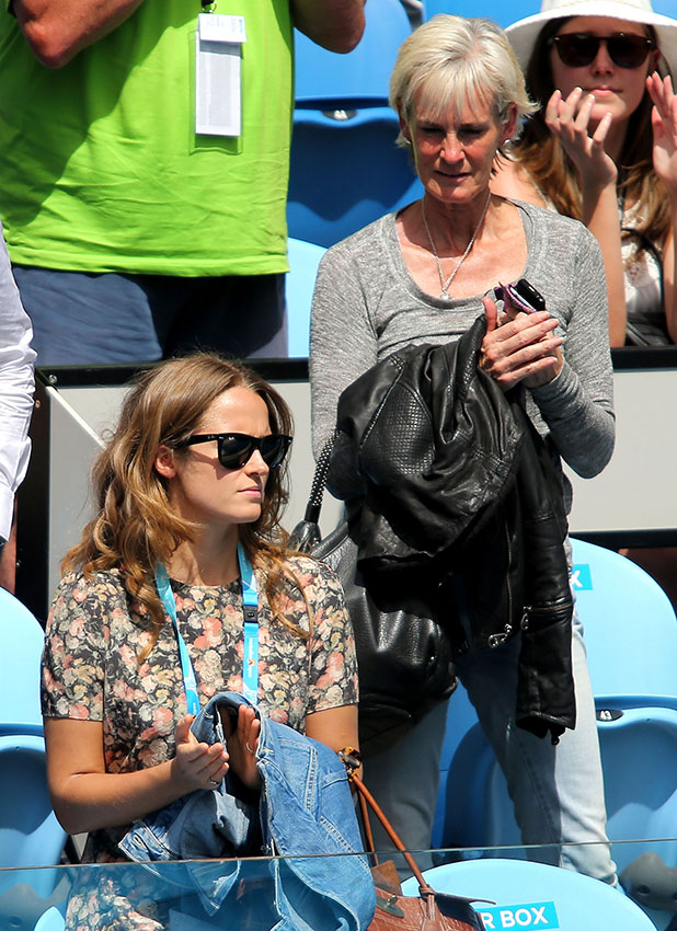 Kim Sears and Judy Murray in Andy Murray's players box in his first round match against Yuki Bhambri of India during day one of the 2015 Australian Open at Melbourne Park on January 19, 2015 in Melbourne, Australia.