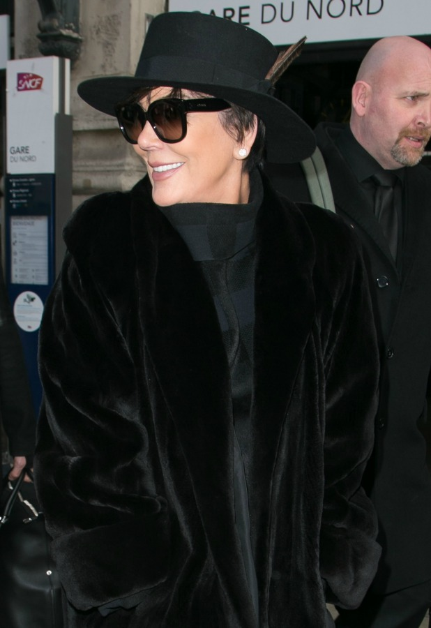 Kris Jenner is seen at 'Gare du Nord' station on January 23, 2015 in Paris, France. (Photo by Marc Piasecki/GC Images)