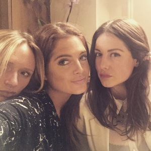 Louise Thompson, Binky Felstead and friend on night out 29 January