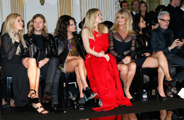 Ellie Goulding and Dougie Poynter attend the Versace show as part of Paris Fashion Week Haute Couture Spring/Summer 2015 on January 25, 2015 in Paris, France.