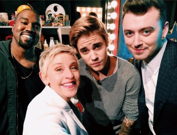 Ellen DeGeneres takes backstage selfie with Kanye West, Justin Bieber and Sam Smith at her birthday show this week on The Ellen DeGeneres Show - 29 January.