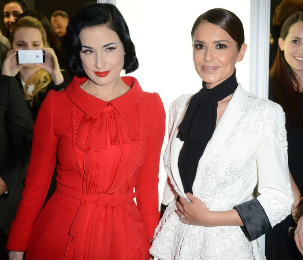 Dita Von Teese and Cheryl Fernandez-Versini at Ralph and Russo show, Spring Summer 2015, Haute Couture, Paris Fashion Week, France - 29 Jan 2015