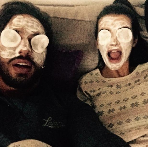 Mario Falcone and Emma McVey enjoy a homemade face mask - 29 Jan 2015
