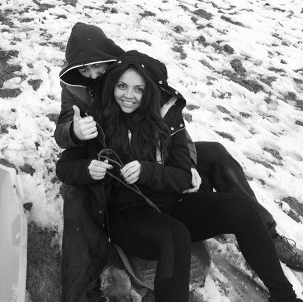 Jesy Nelson and boyfriend Jake Roche sledging 30 January