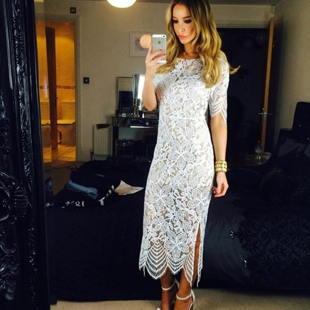 Lauren Pope wears a white lace dress by For Love and Lemons - 25 January 2015