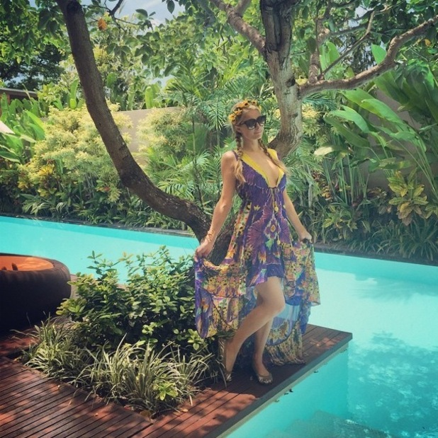 Paris Hilton strikes a pose while holidaying in Bali, Thailand - 26 January 2015