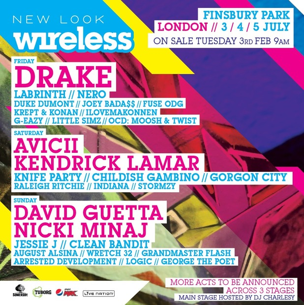 Wireless Festival 2015 line-up. First announced on 30 January 2015.