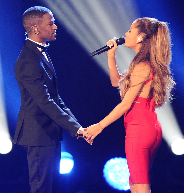 Big Sean and Ariana Grande perform at A Very GRAMMY Christmas at The Shrine Auditorium on November 18, 2014 in Los Angeles, California.