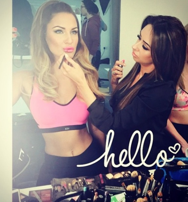 Sam Faiers' make-up artist matches her lipstick (Mac Candy Yum Yum) to her Victoria's Secret sports bra, 26 January 2015