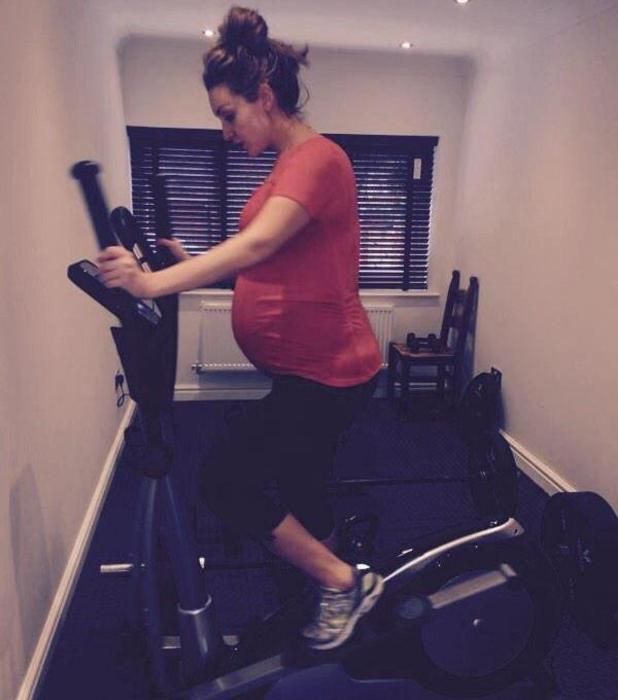 Pregnant Catherine Tyldesley doesn't let her bump interfere with working out! January 2015