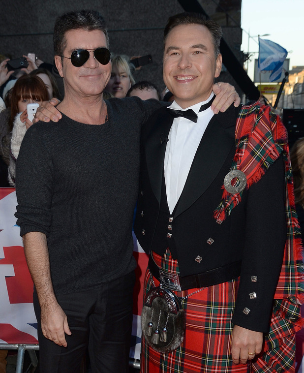 Simon Cowell and David Walliams at Britain's Got Talent Edinburgh Auditions held at Edinburgh Festival Theatre - Arrivals. 01/19/2015.