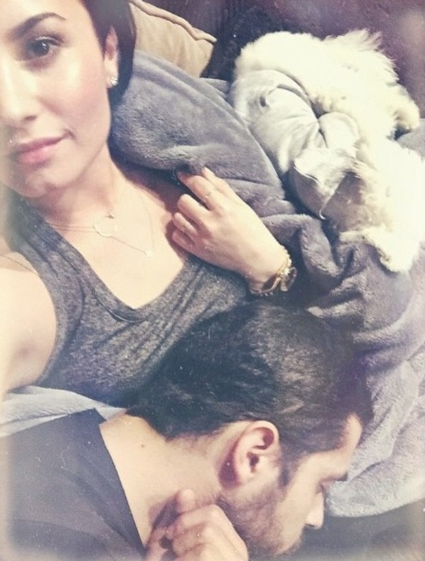 Demi Lovato, boyfriend Wilmer Valderrama and dog Buddy 27 January