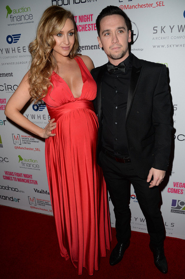 Catherine Tyldesley and fiancé Thomas Pitfield attend Vegas Fight Night boxing themed fundraiser in aid of local charities at the Hilton Manchester Deansgate, 31 January 2015