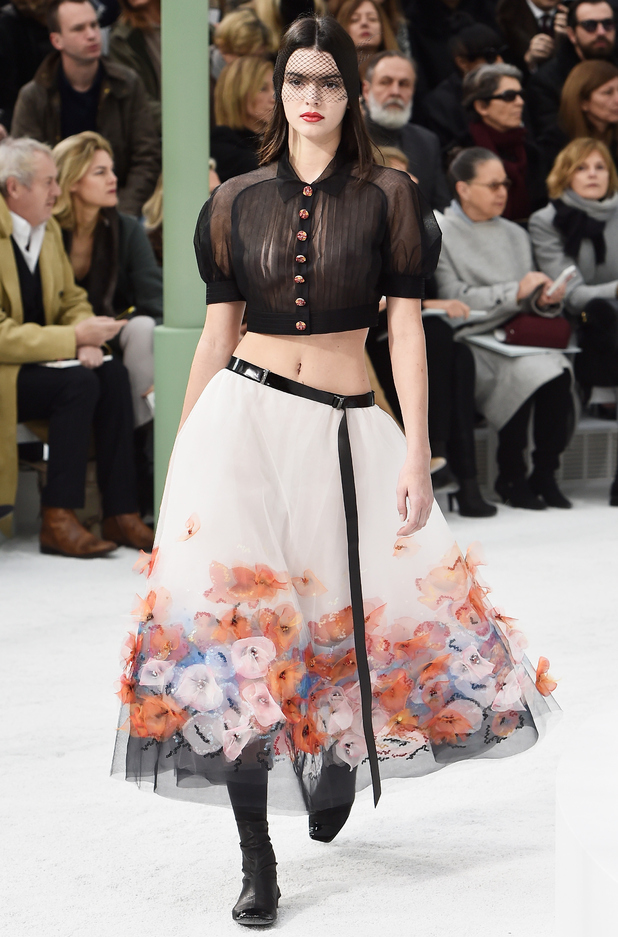 Kendall Jenner walks the runway at the Chanel show at Paris Haute Couture Fashion Week - Paris, France - 27 January 2015