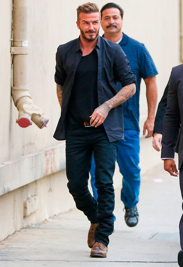 David Beckham arriving at the ABC studios for an interview on Jimmy Kimmel Live!, 28 January 2015