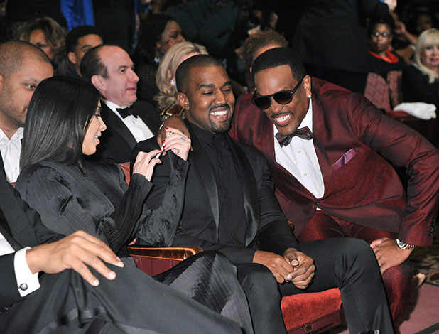 Kim Kardashian, Kanye West and Charlie Wilson attend 'The BET Honors' 2015 at Warner Theatre on January 24, 2015 in Washington, DC.