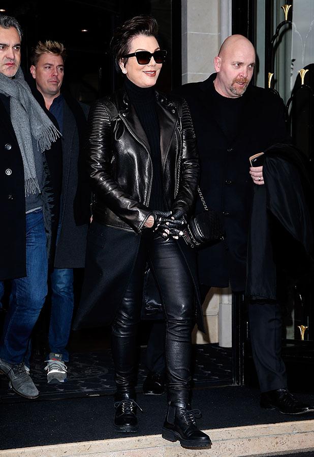 Kris Jenner leaves her hotel on January 25, 2015 in Paris, France.