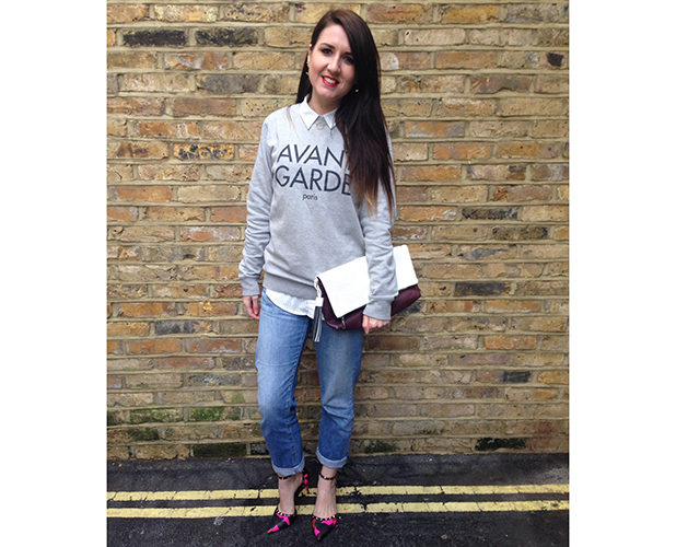 Fashion assistant Harriet Davey in coloured camouflage shoes