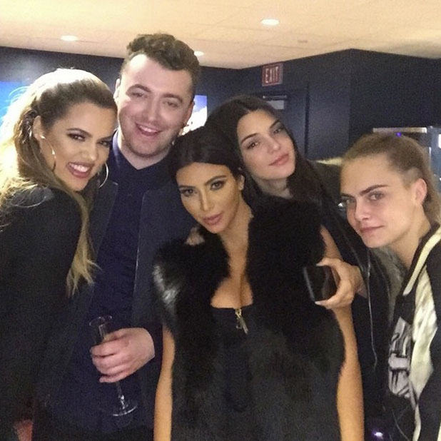 Kim and Khloe Kardashian, Kendall Jenner and Cara Delevingne watch Sam Smith in LA, 30 January 2015