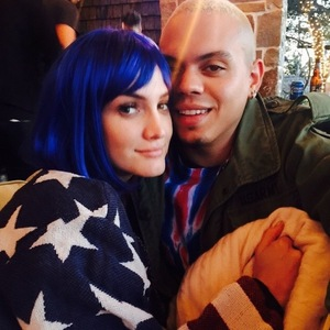 Ashlee Simpson and Evan Ross watch the Superbowl 1 February
