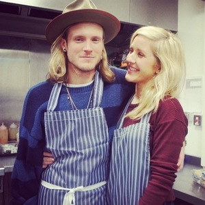 Ellie Goulding and Dougie Poynter help out at homeless centre 16 January