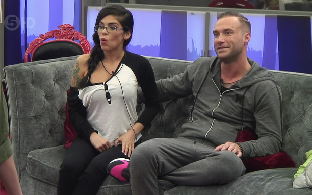 Cami Li and Calum Best in the Celebrity Big Brother house. 01/13/2015.