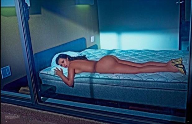 Kim Kardashian shows off her photo shoot from LOVE magazine, 6 February 2015