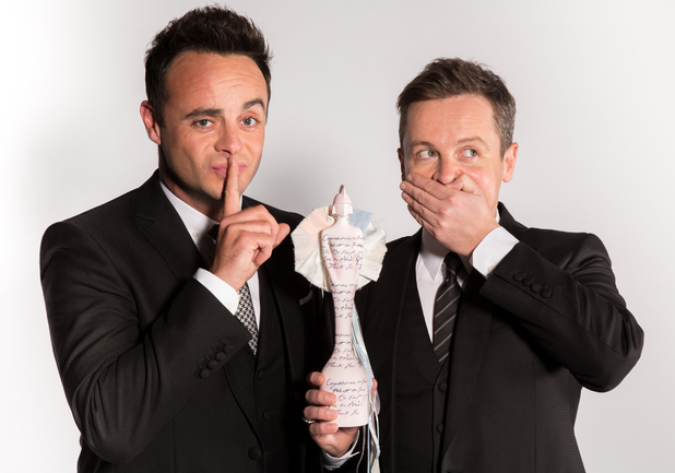 Ant & Dec pose with new Brit Award - February 2015.