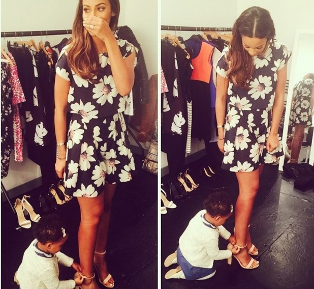Rochelle Humes brings Alaia-Mai to work 3 February