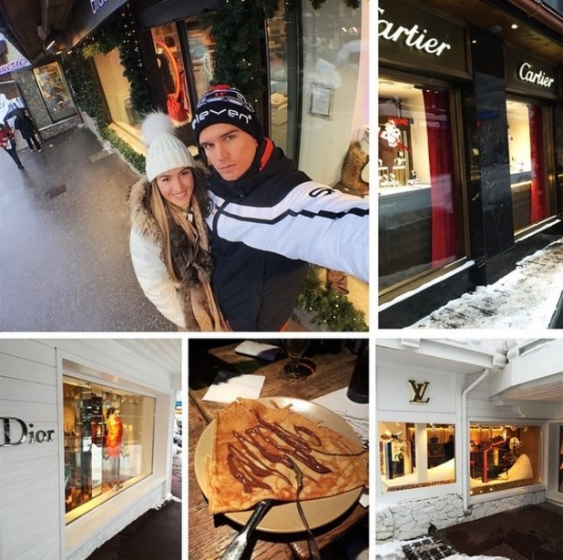 Gary Beadle and girlfriend Lillie Lexie Gregg skiing in Courchevel 1 February
