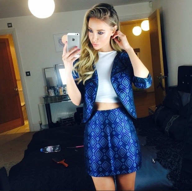 Lauren Pope wears blue Aztec co-ords from her clothing collection for InTheStyle.com - 3 February 2015