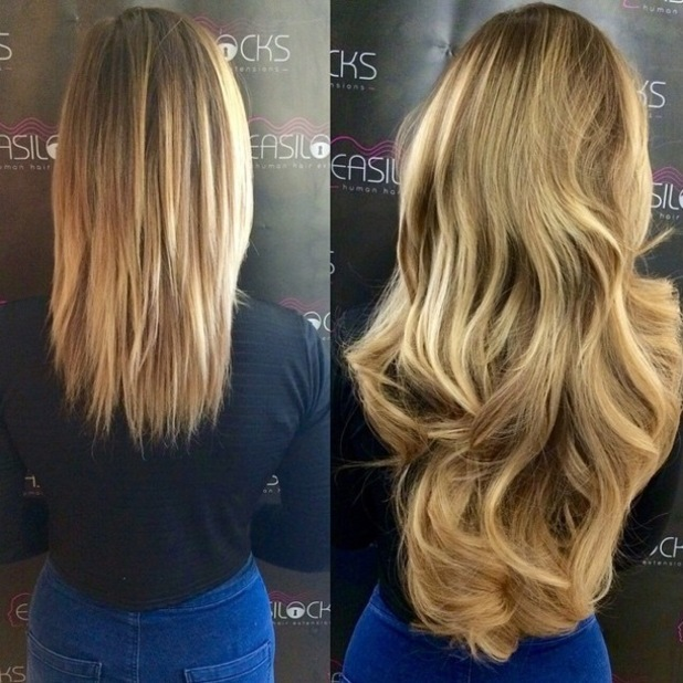 Geordie Shore's Holly Hagan shows off new sandy blonde hair extensions by Shane O'Sullivan - 2 February 2015