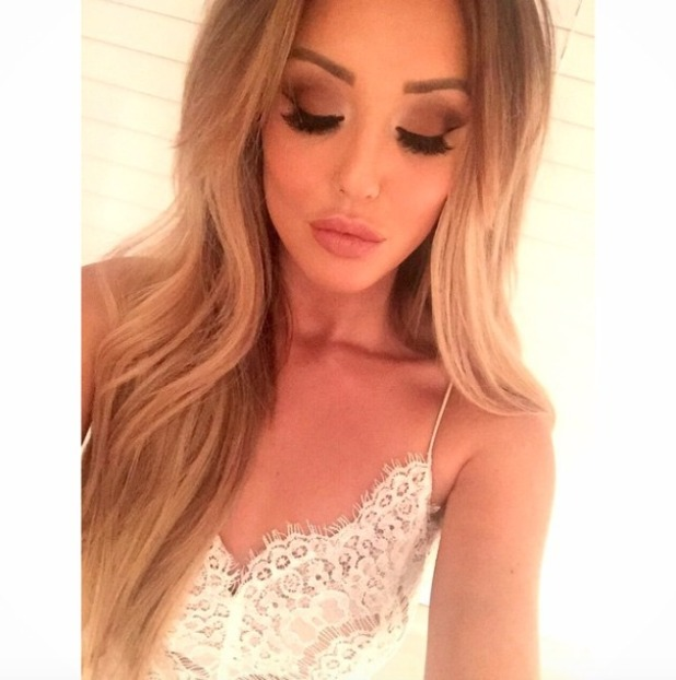 Charlotte Crosby shows off make-up before night out with the girls, make-up by Melissa Wharton, 2 February 2015