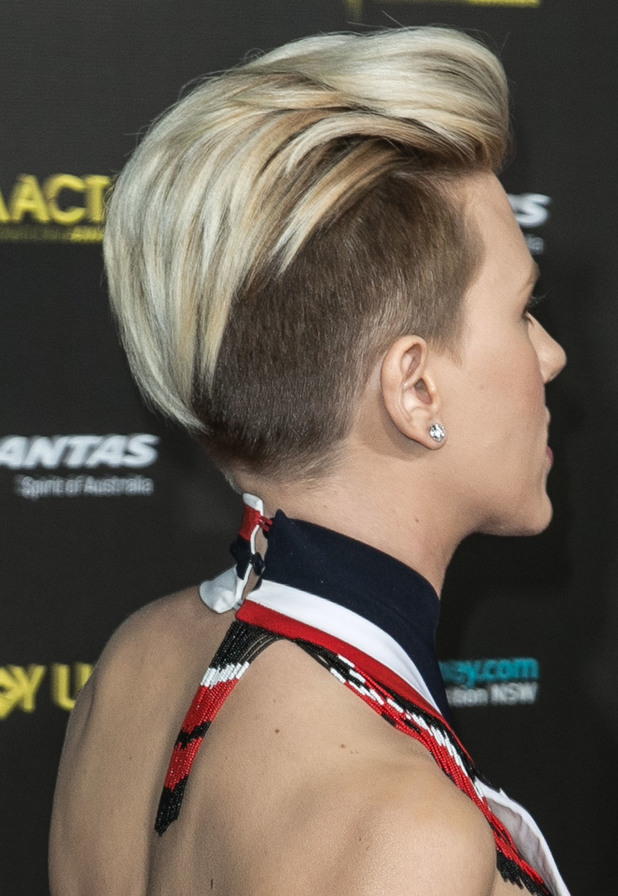 Scarlett Johansson shows off her shaved hairstyle while attending the G'Day USA Gala in Los Angeles, America - 31 January 2015