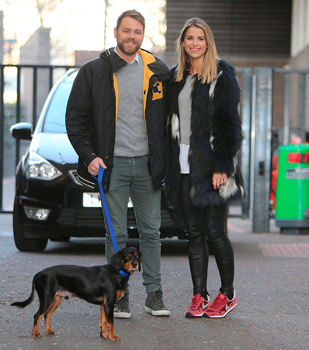 Brian McFadden and wife Vogue Williams outside ITV Studios, 2 February 2015